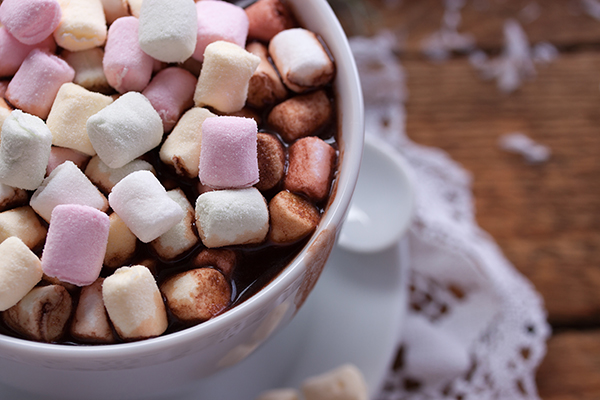 Homemade hot chocolate with marshmallow for christmas. Top view